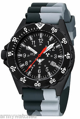 KHS Tactical Watches Black Shooter H3 Date Camouflage Band Swiss Made KHS.SH.DC1