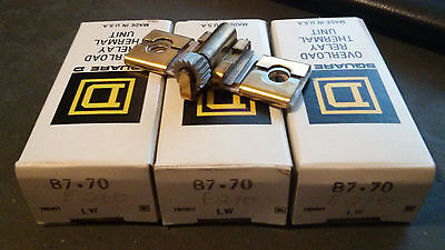 (LOT OF 3) Square D B7.70 Overload Relay Thermal Unit Heater *New in Box*