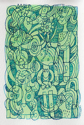 Original Blue And Green  Ink Drawing