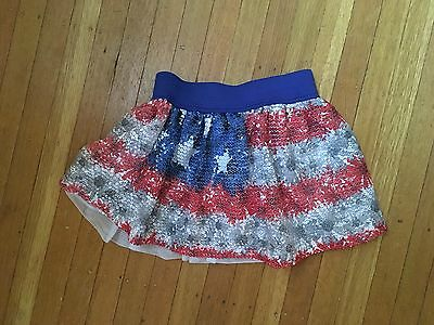 Girls Justice red white and blue Skirt Size:5 GUC