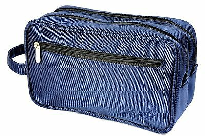 Oakland Men's Large Blue Nylon Washbag Travel Wash Bag with 2 compartments