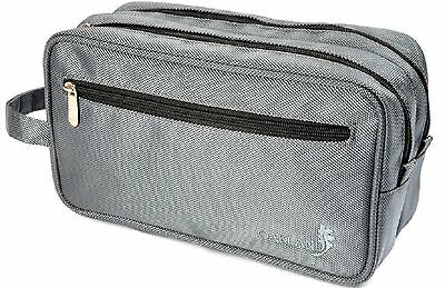 Oakland Men's Large Grey Nylon Washbag Travel Wash Bag with 2 compartments