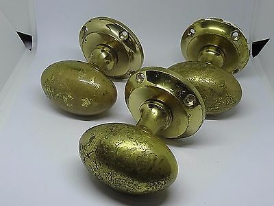 3 x VINTAGE DRAWER DOOR KNOBS NICELY DISTRESSED BRASS COLOUR