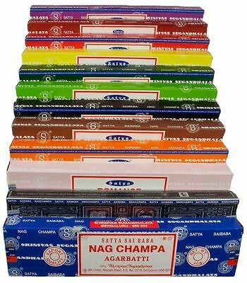 3 or 12 - Satya Genuine Nag Champa Incense Sticks Joss 15g - Assorted