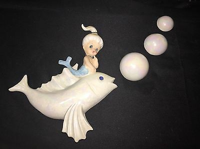 Vintage Mermaid W/3 Bubbles 6.25 Length 6.75 High Hanging Wall Plaque
