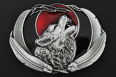 Gothic Howling Wolf Moon Metal Belt Buckle