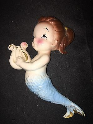 "Vintage Mermaid Playing A Harp 5"" Tall HANGING WALL PLAQUE"
