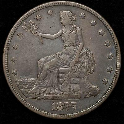 1877 Trade Dollar:  nice XF, perfect color