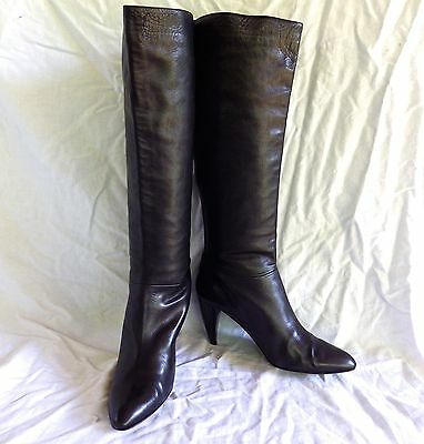 SIGERSON MORRISON Black Leather Knee High Boots Women's Sz 8 Made In Italy