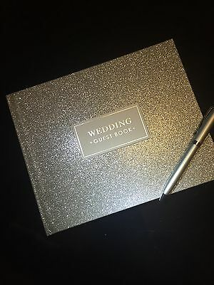 Luxurious Pretty Silver Sparkling Wedding Guest Book And Silver pen