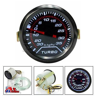 Universal LED Car Turbo Boost Pressure Gauge 35 Psi Meter Smoked Dials 2″ 52mm
