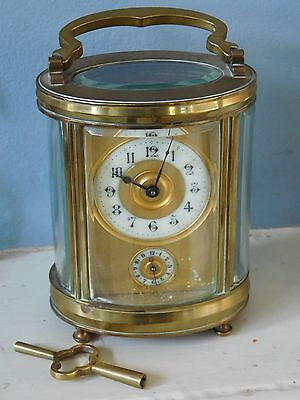 Antique French Cased Carriage Clock 8 Day Alarm Full Working Order