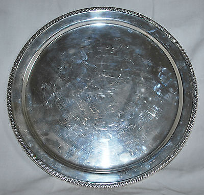 Sterling Silver Gadrooned Boarder Round Shape Platter / Tray J.E. Caldwell & Co.