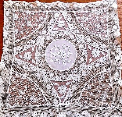 Antique French Normandy Lace Doily Table Runner Square Centerpiece Lacework