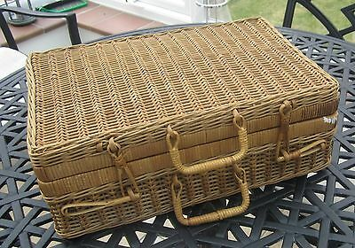 Vintage Wicker and Rattan Picnic Basket/Case