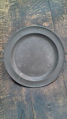 Large Antique Pewter Plate / Salver / Tray - Twin handled with 3 ball feet - VGC