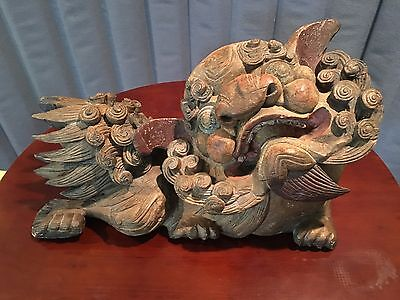 Antique Chinese FOO DOG - Lion - Dragon Temple Guard Wood Carving