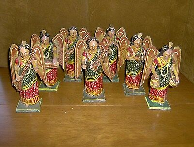 Lot Of 7 Antique Carved Wood Hand Painted Musical Angel Figures From India
