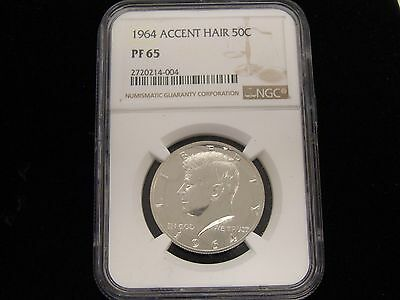 1964 ACCENTED HAIR KENNEDY NGC PF 65 Silver PROOF Half Dollar  50c Coin