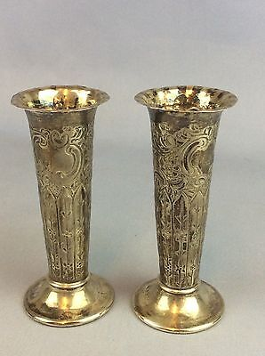 Pair Solid Silver Vases Maker H A Total Weight 108 Grams Ship Worldwide