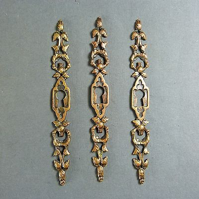 Set of 3 French Antique Gilted Bronze Door Plate Key Hole Cover Leaves Decor