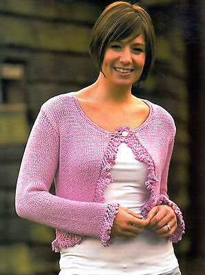 """Knitting Pattern Ladies 24-42"""" Long-Sleeved Cardigan Frilly-Lace-Edging Ktm M5A"""