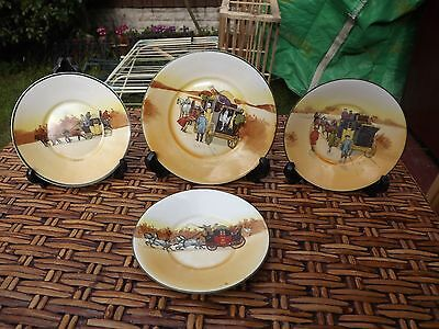Vintage Royal Doulton Coaching Days 3 Saucers  & 1 Side Plate See Description