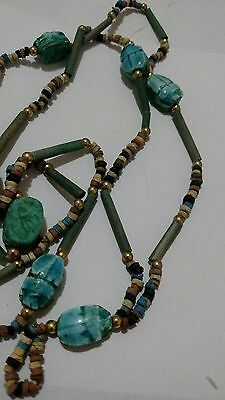 "Amazing Egyptian Terracotta Necklace Mummy Beads, with Scarabs Amulet 32"". /9"