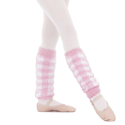 Girls Eurotard 12'' Pink & White Leg Warmers