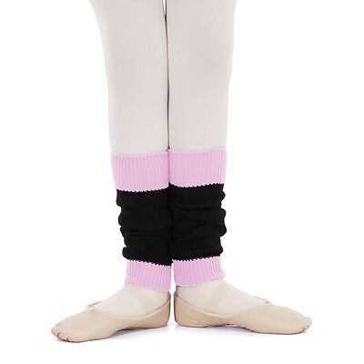 Girls Eurotard 14'' Black & Pink Leg Warmers