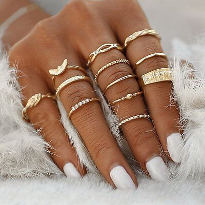 Women Girls 12pcs Retro Bohemian Gold Tone Ring Set Midi Finger Knuckle Rings