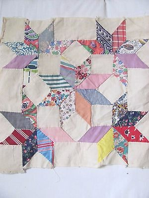 "Patchwork CARPENTERS WHEEL 13.5"" QUILT BLOCK FEEDSACK H-Pc'd c1930-40's SCRAPPY"