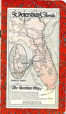 1921 BB6 Full Page Glossy Color Ad St Petersburg Florida Pinellas County w Map