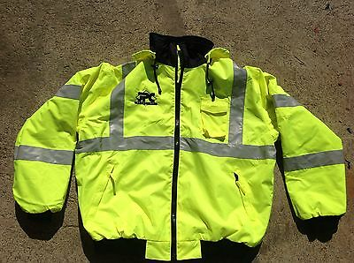 waterproof safety jacket with hood and  fleece lining.  Size 2XL