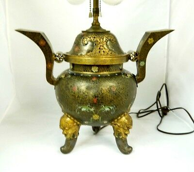 """12"""" Antique Chinese Cloisonne Carved Bronze Incense Burner Converted to Lamp 22"""""""