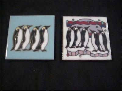 Masterworks Handcrafted Art Ceramic Tile Trivet Coaster 2 Pcs. with Penguins