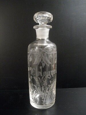 Antique Cologne Perfume Bottle Hand Etched Engraved