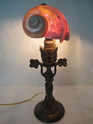 Magnificent C. 1910 Art Nouveau Nautical Lamp With Sea Shell Shade