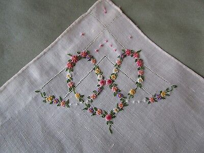 Vintage Hand Embroidered flowers Handkerchief Heart of flowers