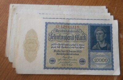 Vintage German 1922 Super-Inflation 10,000 Mark Note Zehntausend Marks