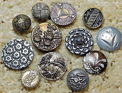 ANTIQUE Victorian METAL Button LOT 12 CHARMSTRING BUTTONS 1B