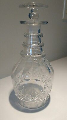 Antique Pittsburgh Glass 3 Ring Cut Glass Decanter with original stopper.