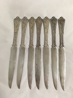 Antique Tiffany Persian Pattern Sterling Silver Fruit Knives