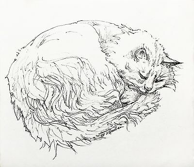 Original signed ink drawing of a cat, Toastie, by award-winning Melbourne artist