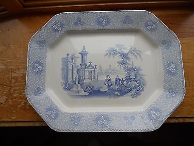 LARGE ANTIQUE 1800s W. ADAMS & SONS STAFFORDSHIRE-TRANSFERWARE PLATTER