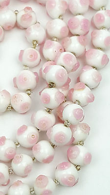 Vintage white and pink art glass bead necklace for restringing Italian
