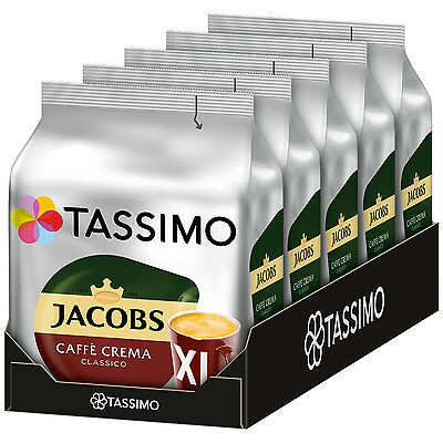 TASSIMO Jacobs Cafe Crema CLASSICO XL coffee pods / k-cups -5 PACK-