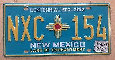 "New Mexico Centennial 100 Yrs Statehood  License Plate "" Nxc 154 "" Nm 1912 2012"