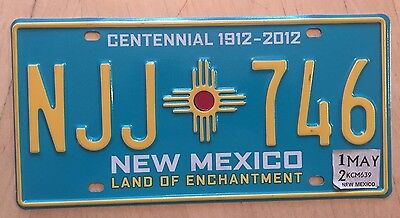 "New Mexico Centennial 100 Yrs Statehood  License Plate "" Njj 746 "" Nm 1912 2012"