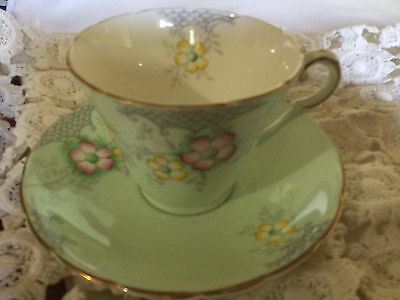 Wellington Bone China Cup And Saucer England   Hand Painted